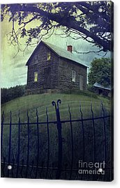 Haunted House On A Hill With Grunge Look Acrylic Print by Sandra Cunningham