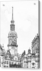 Hausmannsturm In Dresden Germany Acrylic Print by Christine Till