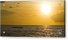 Hawaiian Outrigger Canoe Sunset Acrylic Print by Dustin K Ryan