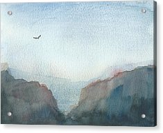 Hawk Above The Red Cliffs Acrylic Print by Alan Daysh