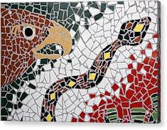 Hawk And Snake Mosaic Acrylic Print by Carol Leigh