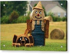 Hay Bale Farmer And Dog  Acrylic Print