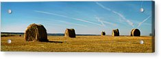Haybales And Jet Trails Acrylic Print
