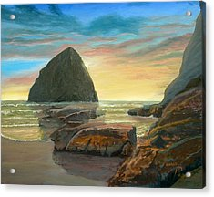 Haystack Kiwanda Sunset Acrylic Print by Chriss Pagani