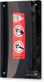 Hazard Warning Sticker Acrylic Print by Photo Researchers