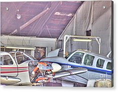 Hdr Planes Being Fixed Acrylic Print by Pictures HDR