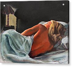 He Snuck Out Of Bed Acrylic Print by Mona Davis
