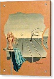 Head In Wind Surrealistic Frame Boards Tree And Hair Waving In Wind Beige Blue Grey Acrylic Print by Rachel Hershkovitz