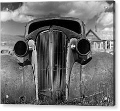 Headlights And Grill With Clouds Acrylic Print by Joe  Palermo
