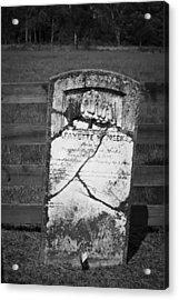Headstone Of Lafayette Meeks Acrylic Print by Teresa Mucha