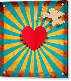 Heart And Cupid On Paper Texture Acrylic Print by Setsiri Silapasuwanchai