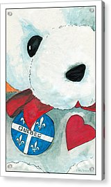 Acrylic Print featuring the drawing Heart Quebec Bear by Ana Tirolese