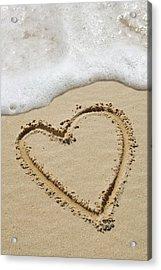 Heart-shape Drawn In Sand Acrylic Print by Tony Craddock