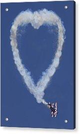 Heart Shape Smoke And Plane Acrylic Print by Garry Gay