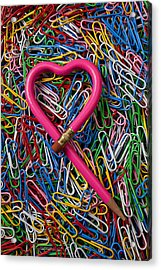 Heart Shaped Pink Pencil Acrylic Print by Garry Gay