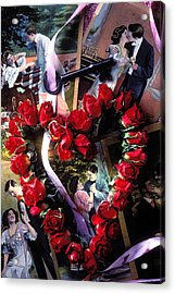 Heart Shaped Roses And Old Postcards Acrylic Print by Garry Gay