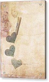 Hearts On The Line Acrylic Print by Rebecca Cozart
