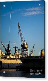 Heavy Equipment Cranes At Drydock Acrylic Print by Eddy Joaquim