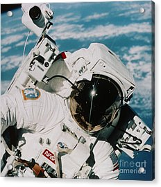 Helmet Of Astronaut Mccandless Acrylic Print by NASA / Science Source