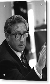 Henry Kissinger In A Meeting Following Acrylic Print by Everett