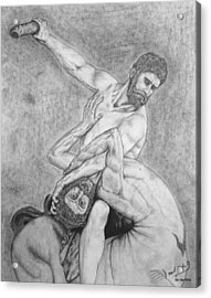 Hercules And The Centaur Acrylic Print by Miguel Rodriguez