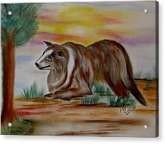 Acrylic Print featuring the drawing Herding Collie by Maria Urso