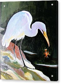 Heron And Crayfish Acrylic Print