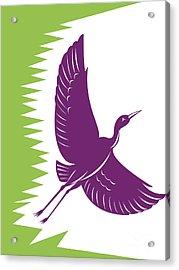 Heron Crane Flying Retro Acrylic Print by Aloysius Patrimonio
