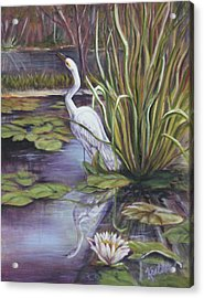 Acrylic Print featuring the painting Heron Standing Watch by Pauline  Kretler