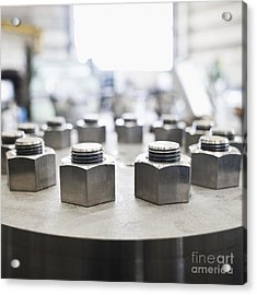 Hex Nuts Threaded On Bolts Acrylic Print by Jetta Productions, Inc