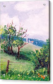 Acrylic Print featuring the painting Hickory Hillside by Joe Winkler