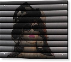 Hidden Behind The Blinds Acrylic Print by HollyWood Creation By linda zanini