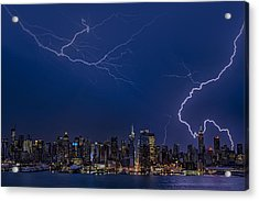 High Voltage In The  New York City Skyline Acrylic Print by Susan Candelario