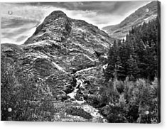 Highland Stream Bw Acrylic Print by Paul Prescott