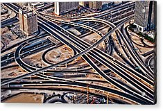 Highway Intersection Of Acrylic Print by Miemo Penttinen - miemo.net