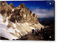 Hikers Resting At Bamberger Saddle, Gruppo Sella, Dolomites, Italy Acrylic Print by Witold Skrypczak