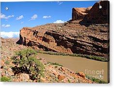 Hiking The Moab Rim Acrylic Print by Gary Whitton
