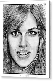 Acrylic Print featuring the drawing Hilary Swank In 2007 by J McCombie