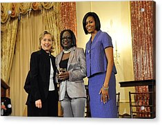Hillary Clinton And Michelle Obama Acrylic Print by Everett