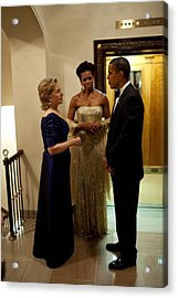 Hillary Clinton Chats With President Acrylic Print by Everett