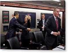 Hillary Clinton Joyfully Congratulates Acrylic Print by Everett