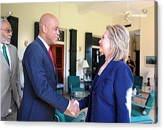 Hillary Clinton Meets With Haitian Acrylic Print by Everett