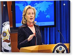 Hillary Clinton Speaking Acrylic Print by Everett
