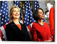 Hillary Clinton Stands With Speaker Acrylic Print by Everett