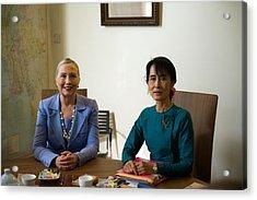 Hillary Clinton Visited Daw Aung San Acrylic Print by Everett