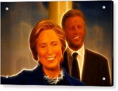 Hillary Rodham Clinton - United States Secretary Of State - Bill Clinton Acrylic Print by Lee Dos Santos
