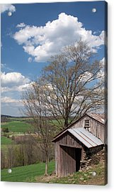 Hillside Weathered Barn Dramatic Spring Sky Acrylic Print by John Stephens