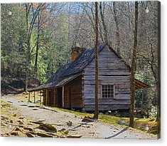 Acrylic Print featuring the photograph Historic Cabin On Roaring Fork Motor Trail In Gatlinburg Tennessee  by Peter Ciro