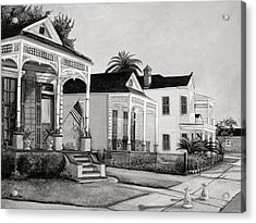 Historic Louisiana Homes In Black And White Acrylic Print by Elaine Hodges