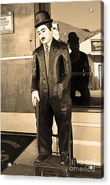 Historic Niles District In California Near Fremont . Charlie Chaplin Statue At The Florence Bar . Se Acrylic Print by Wingsdomain Art and Photography